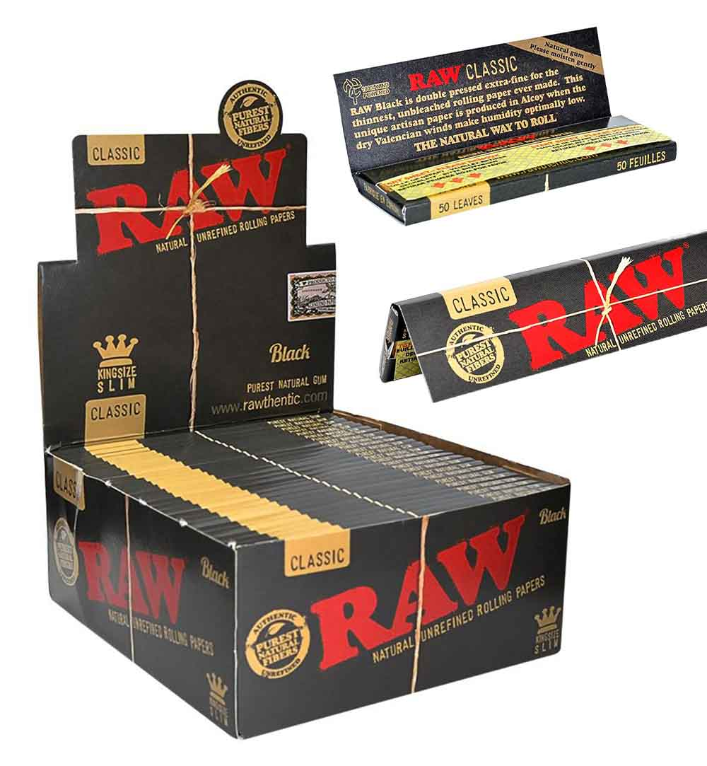 RAW Black Rolling Papers In A 50 Pack Retail Display Box