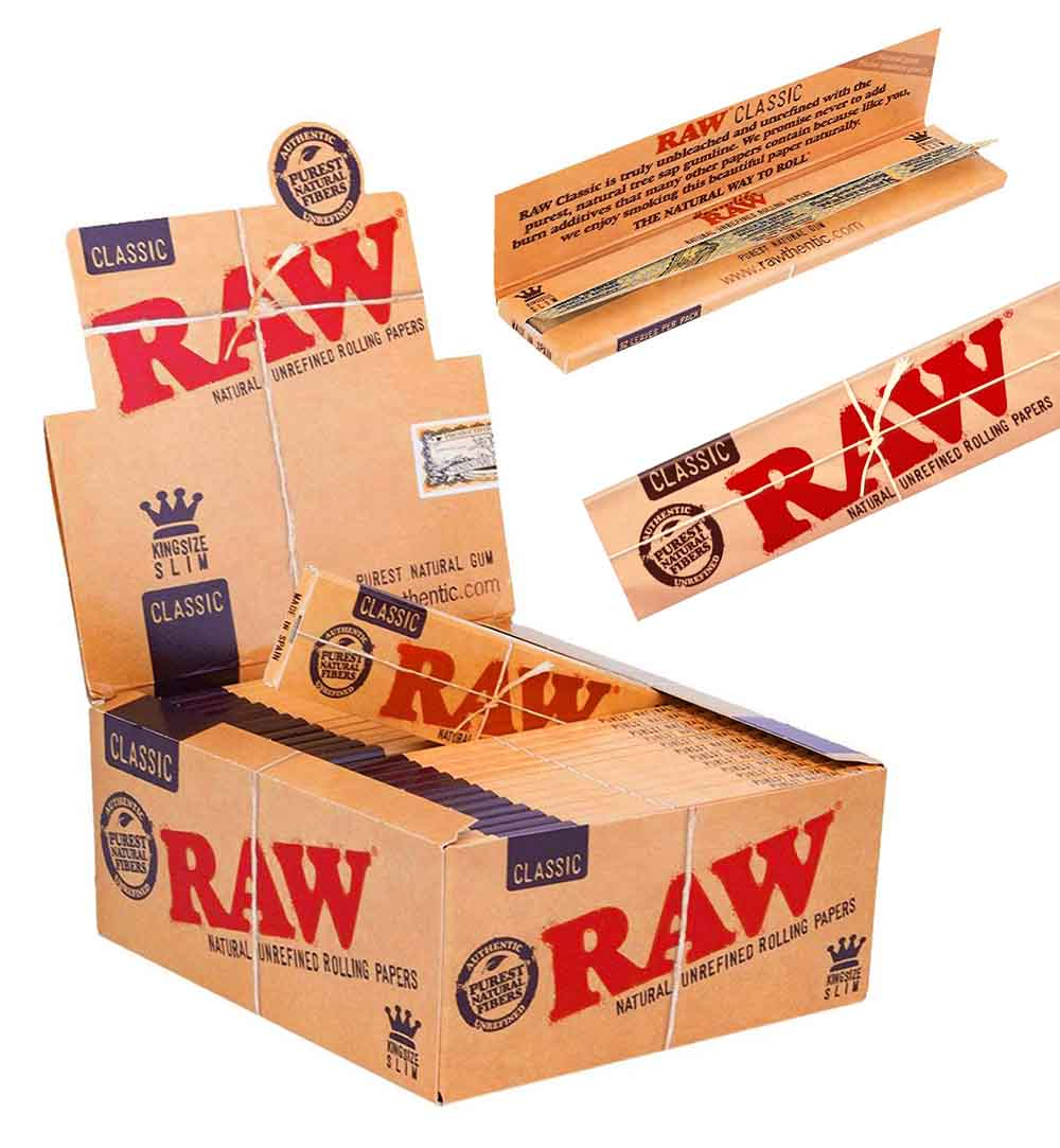 A Box Of RAW King Size Slim Rolling Paper Packs
