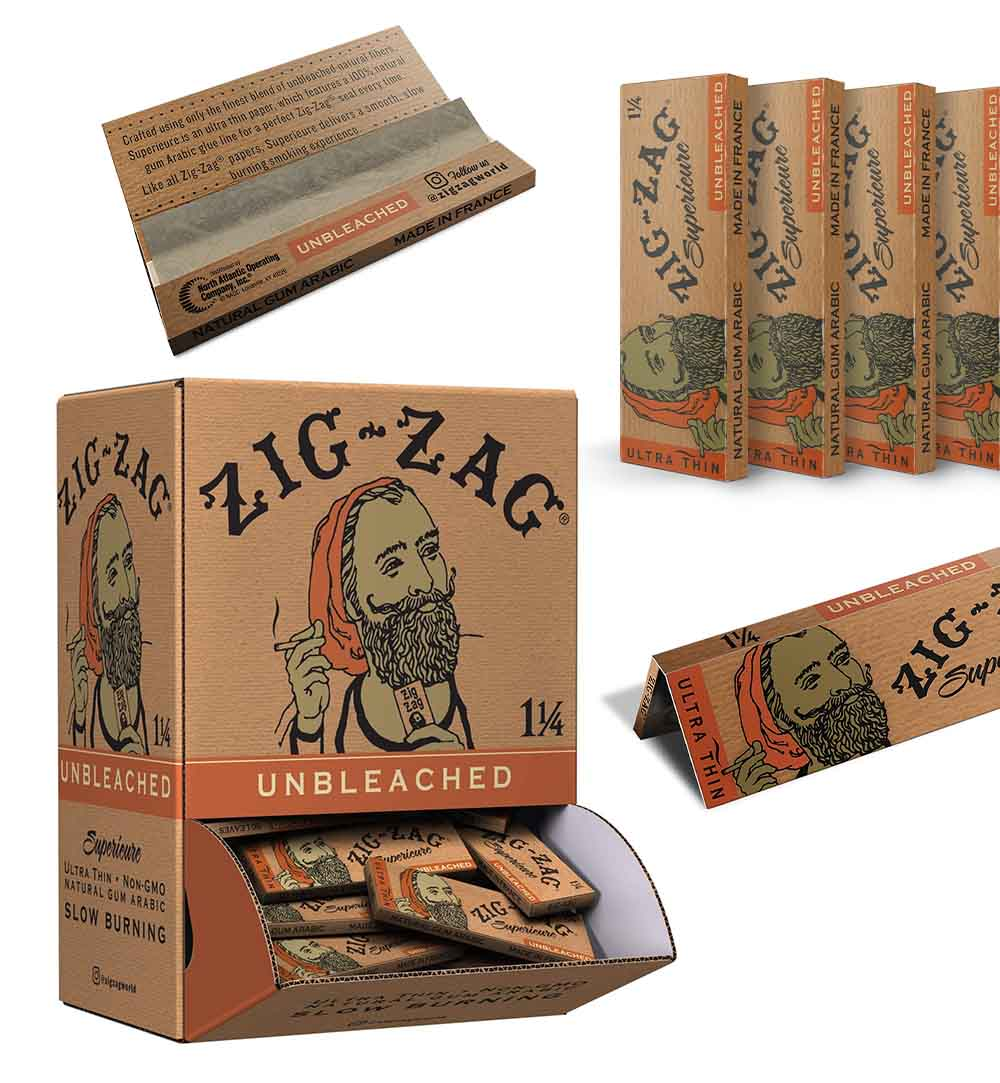 Zig Zag's Easy-Grab Retail Display Box Of Unbleached Rolling Papers