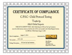 C.P.S.C - Child protocol testing certificate of compliance for CR line up cap containers