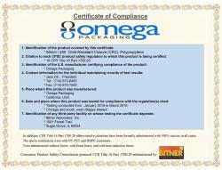 Omega packaging certificate of compliance
