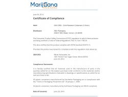 Certificate of compliance for 3 dram child resistant containers