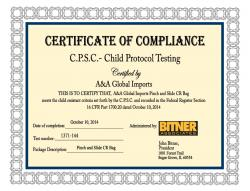 C.P.S.C - Child protocol testing certificate of compliance for Pinch and Slide CR Bag