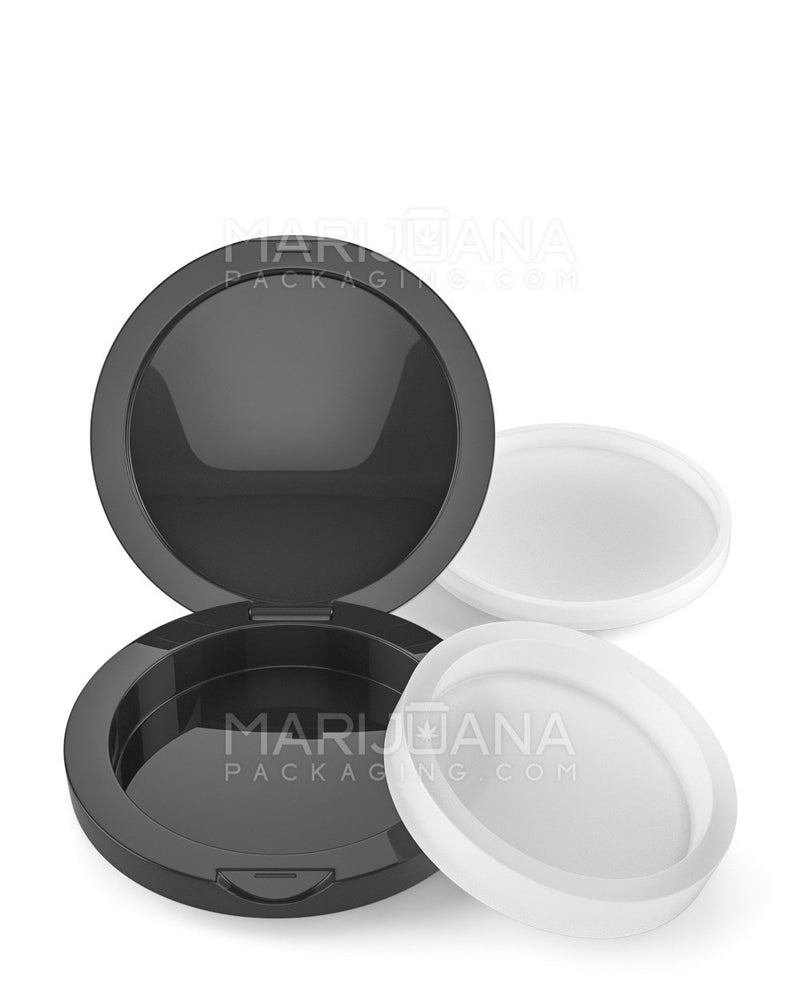 58mm Hinged Black Container w/ Silicone Inserts - 6ML - 100 Count | Dispensary Supply | Marijuana Packaging
