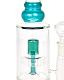 Double Chamber | Straight Neck Showerhead Perc Glass Water Pipe w/ Thick Base | 13in Tall - 18mm Bowl - Teal