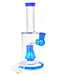 Straight Neck Barrel Perc Glass Water Pipe w/ Thick Base | 8in Tall - 14mm Bowl - Blue