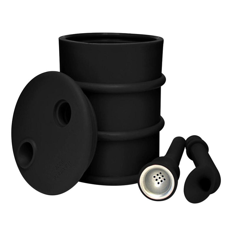 Silicone Oil Can Water Pipe - Black