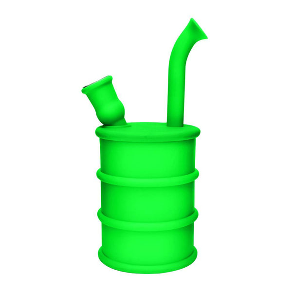 "8.5"" Silicone Oil Can Water Pipe - Green"