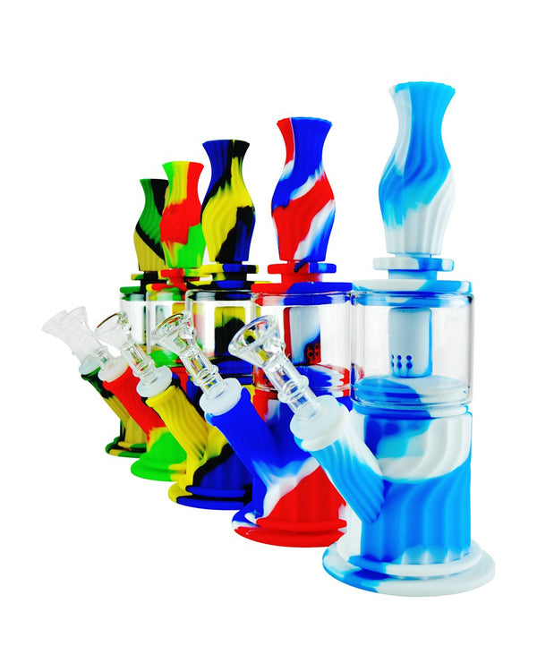 "9.5"" Assorted Silicone Hybrid Water Pipe 