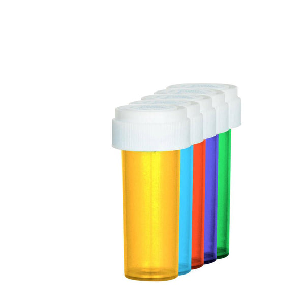 Assorted Colors Reversible Cap Vial 08 Dram