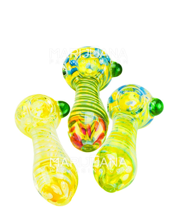 Assorted Fumed Spiral and Dot Hand Pipe 3.5"