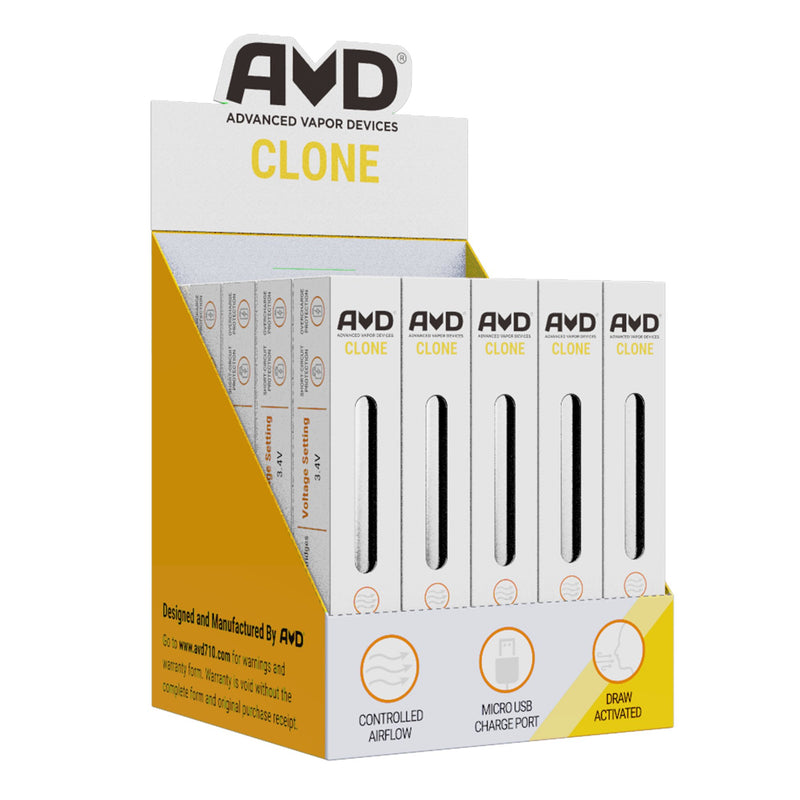 AVD Clone Power Supply with USB Charger | 350mAh – Silver – 25 Count | Dispensary Supply | Marijuana Packaging