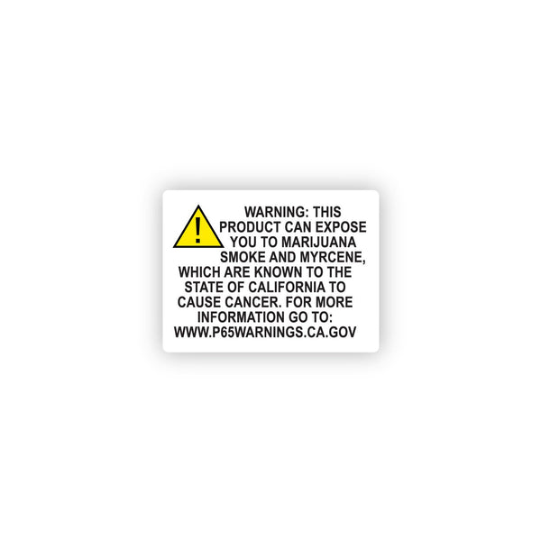 "California Marijuana Prop 65 Warning Compliance Label 2"" x 1.5"" - 1000 Count"