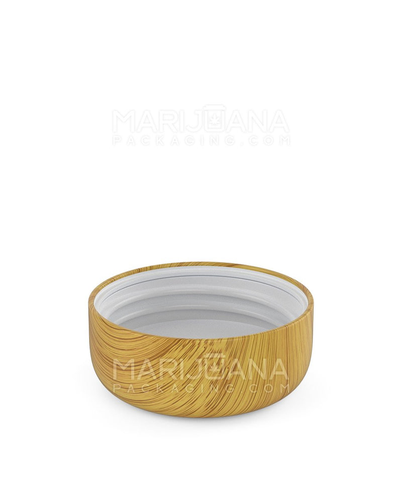 Child Resistant | Dome Screw Top Caps | 53mm - Bamboo Wood Plastic - 120 Count | Dispensary Supply | Marijuana Packaging