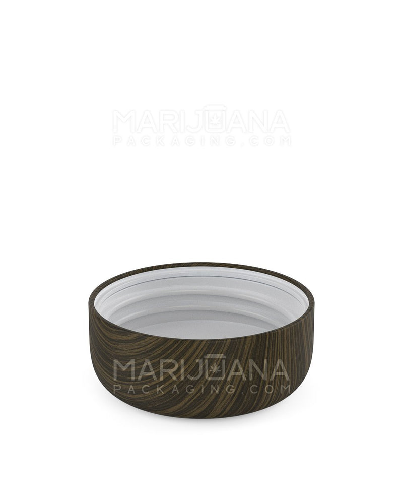 Child Resistant | Dome Screw Top Caps | 53mm - Ebony Wood Plastic - 120 Count | Dispensary Supply | Marijuana Packaging