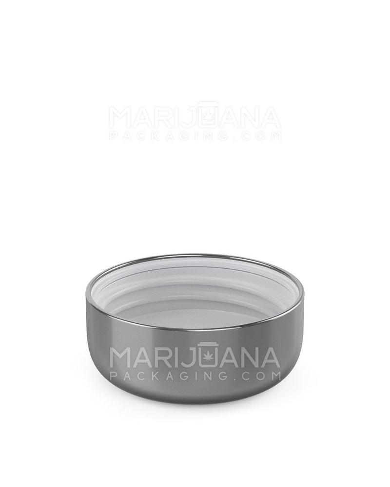Child Resistant | Dome Screw Top Caps | 53mm - Glossy Silver Plastic - 120 Count | Dispensary Supply | Marijuana Packaging