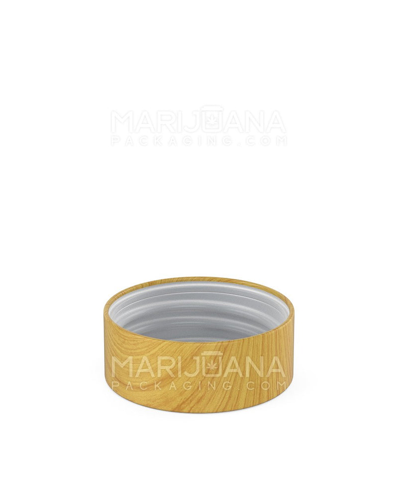 Child Resistant | Flat Screw Top Caps | 38mm - Ash Wood Plastic - 144 Count | Dispensary Supply | Marijuana Packaging