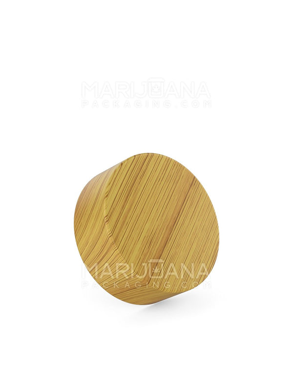 Child Resistant | Flat Screw Top Caps | 38mm - Bamboo Wood Plastic - 144 Count | Dispensary Supply | Marijuana Packaging