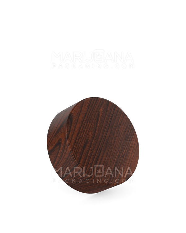 Child Resistant | Flat Screw Top Caps | 38mm - Redwood Wood Plastic - 144 Count | Dispensary Supply | Marijuana Packaging
