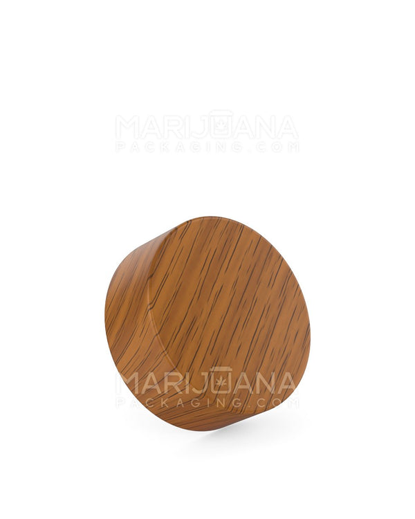 Child Resistant | Flat Screw Top Caps | 38mm - Walnut Wood Plastic - 144 Count | Dispensary Supply | Marijuana Packaging