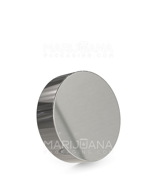 Child Resistant | Flat Screw Top Caps | 53mm - Glossy Silver Plastic - 120 Count | Dispensary Supply | Marijuana Packaging