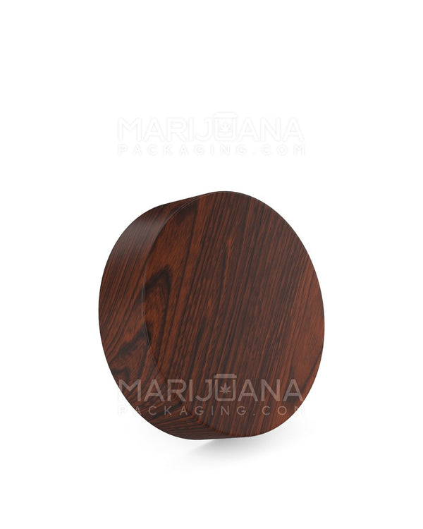 Child Resistant | Flat Screw Top Caps | 53mm - Redwood Wood Plastic - 120 Count | Dispensary Supply | Marijuana Packaging