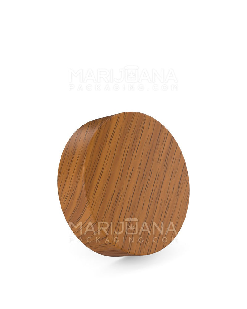 Child Resistant | Flat Screw Top Caps | 53mm - Walnut Wood Plastic - 120 Count | Dispensary Supply | Marijuana Packaging
