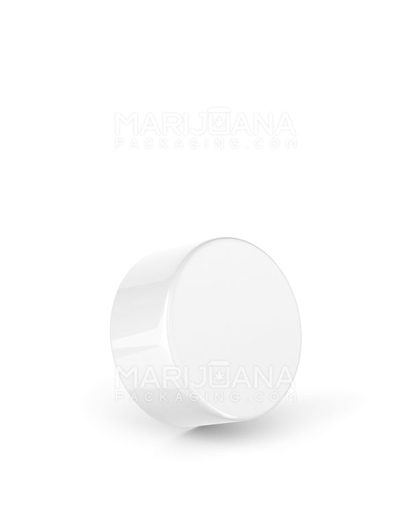 Child Resistant | Foil Lined Smooth Push Down & Turn Caps | 28mm - Glossy White Plastic - 504 Count | Dispensary Supply | Marijuana Packaging