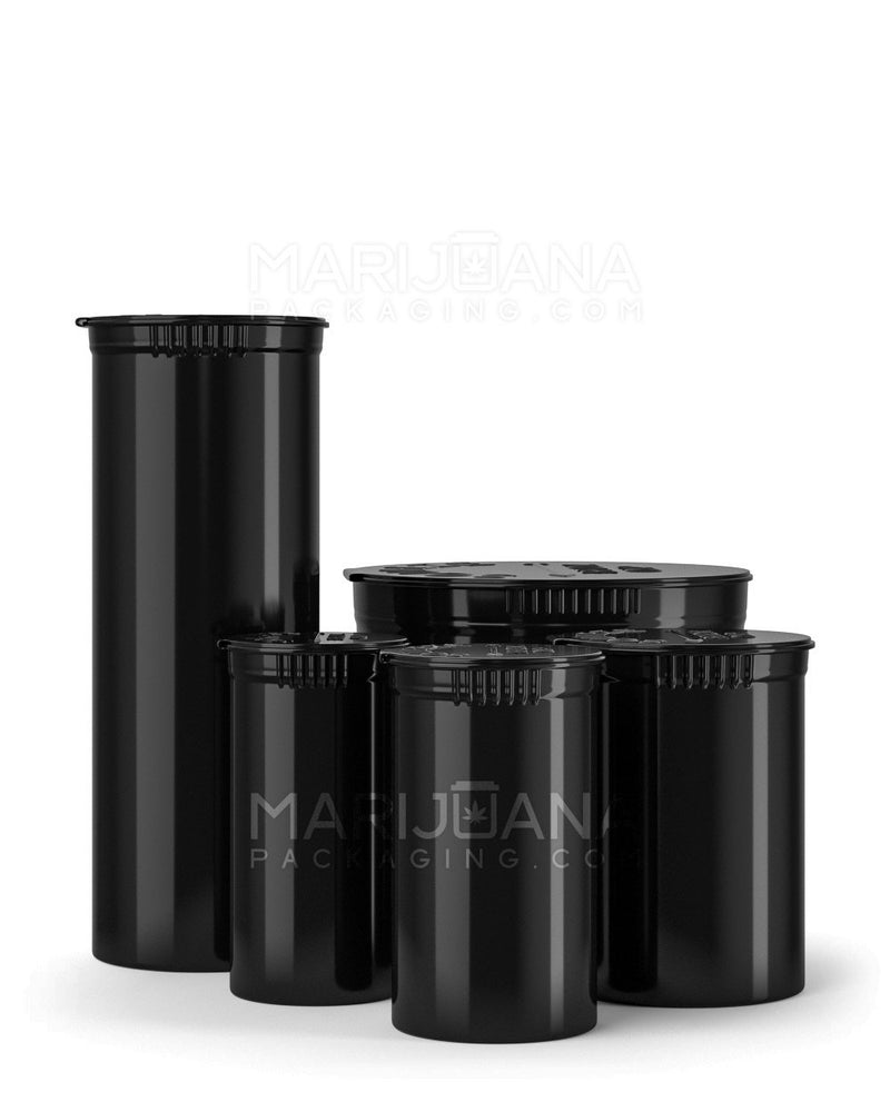 Child Resistant | Opaque Black Pop Top Bottles | 19dr - 3.5g - 225 Count | Dispensary Supply | Marijuana Packaging