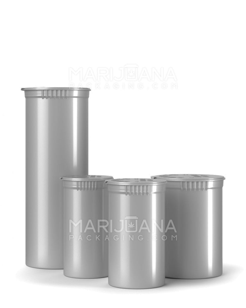Child Resistant | Opaque Silver Pop Top Bottles | 60dr - 14g - 75 Count | Dispensary Supply | Marijuana Packaging