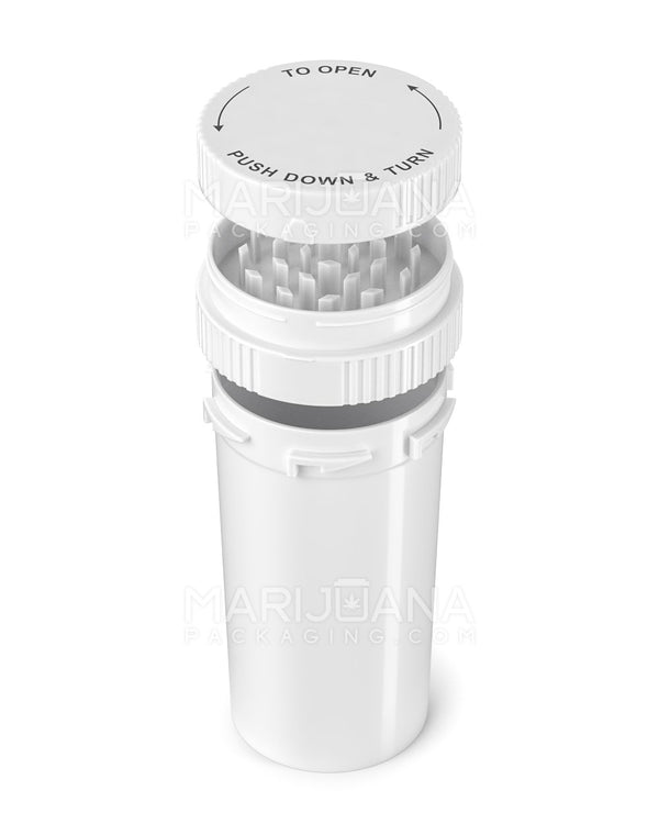 Child Resistant | Push & Turn Vial with Grinder Cap | 60 Dram - White Plastic - 100 Count | Dispensary Supply | Marijuana Packaging
