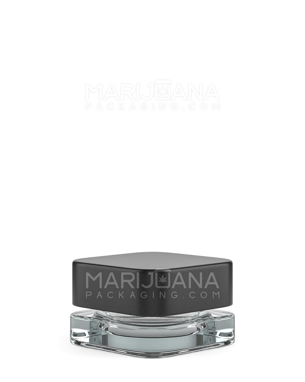 Child Resistant | Qube Clear Glass Concentrate Jar with Black Cap | 24mm - 5ml - 250 Count | Dispensary Supply | Marijuana Packaging