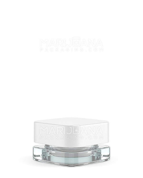 Child Resistant | Qube Clear Glass Concentrate Jar with White Cap | 24mm - 5ml - 250 Count | Dispensary Supply | Marijuana Packaging