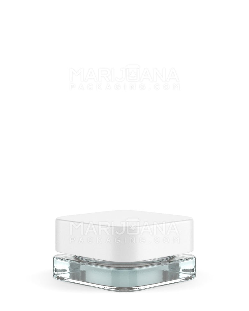 Child Resistant | Qube Clear Glass Concentrate Jar with White Cap | 28mm - 9ml - 250 Count | Dispensary Supply | Marijuana Packaging