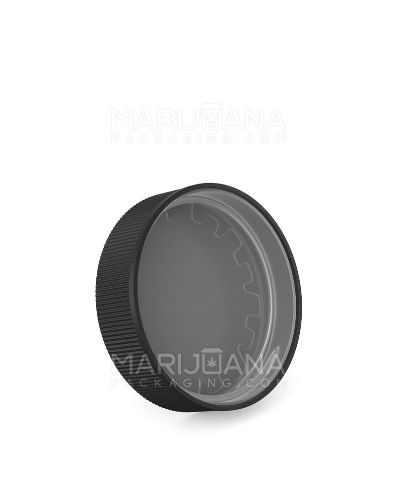 Child Resistant | Ribbed Push Down and Turn Caps | 53mm - Black Plastic - 120 Count | Dispensary Supply | Marijuana Packaging