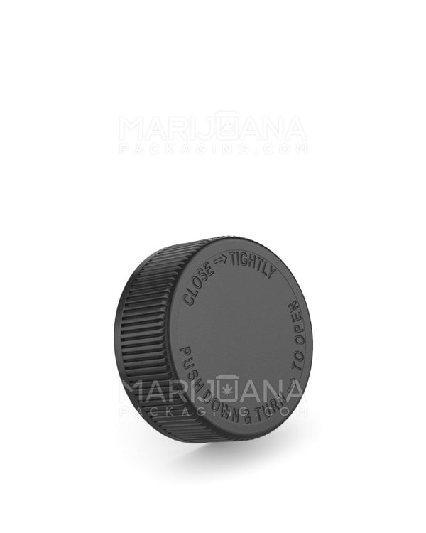 Child Resistant | Ribbed Push Down and Turn Caps with Text | 38mm - Black Plastic - 84 Count | Dispensary Supply | Marijuana Packaging