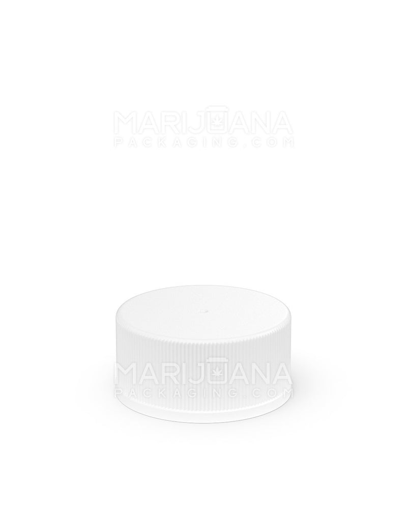 Child Resistant | Ribbed Push Down & Turn Caps | 28mm - White Teflon Lined plastic - 504 Count | Dispensary Supply | Marijuana Packaging