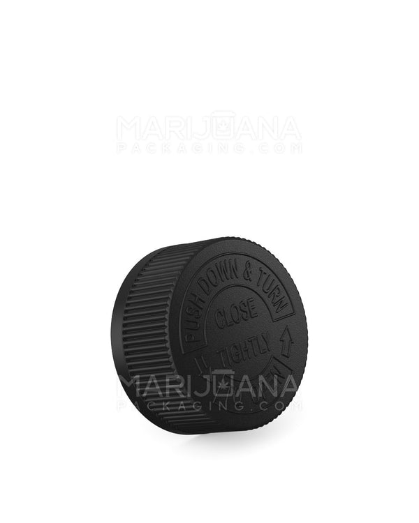 Child Resistant | Ribbed Push Down & Turn Caps | 33mm - Black Plastic - 252 Count | Dispensary Supply | Marijuana Packaging
