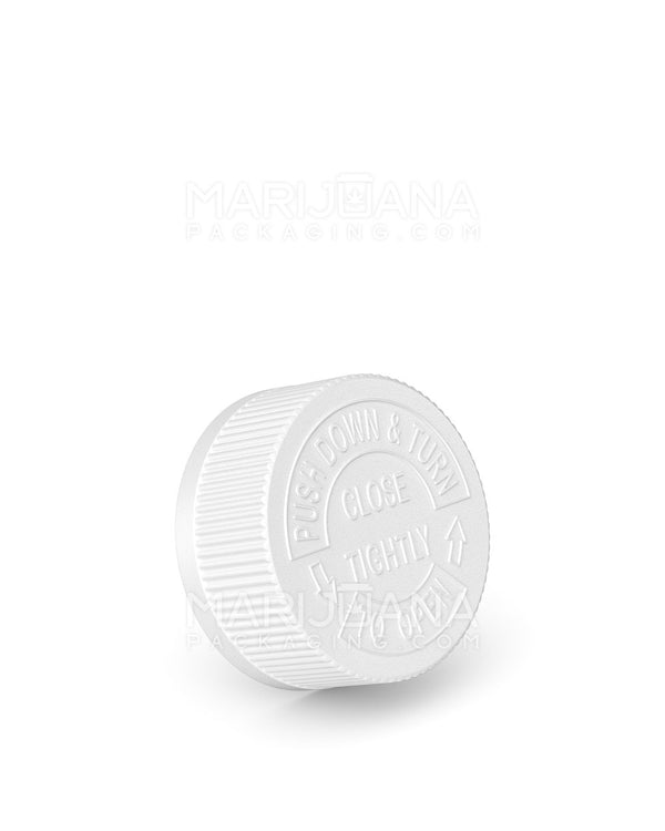 Child Resistant | Ribbed Push Down & Turn Caps | 33mm - White Plastic - 252 Count | Dispensary Supply | Marijuana Packaging
