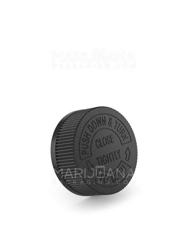 Child Resistant | Ribbed Push Down & Turn Caps | 38mm - Black Plastic - 252 Count | Dispensary Supply | Marijuana Packaging