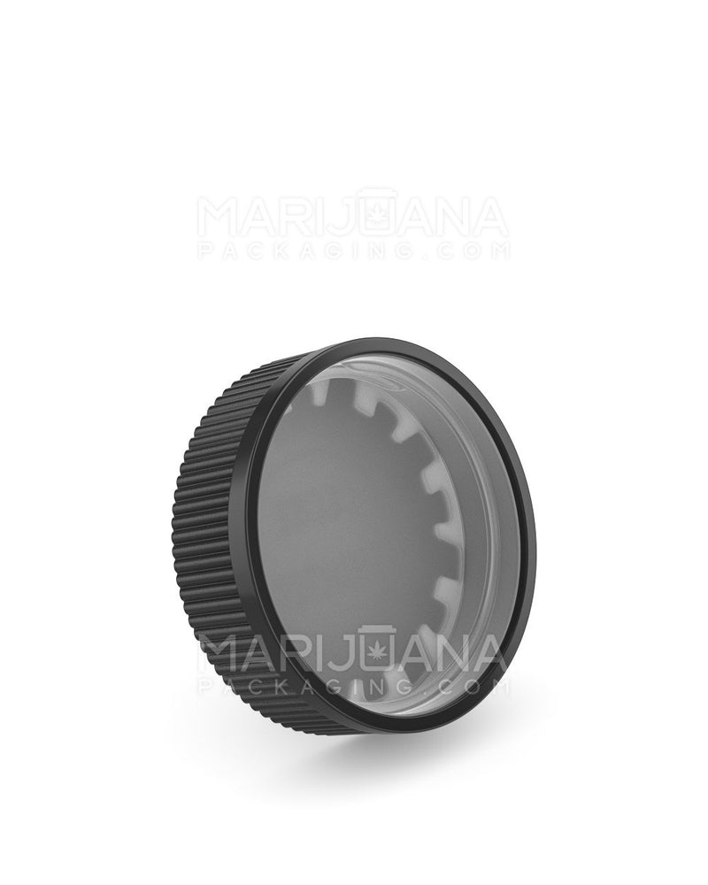 Child Resistant | Ribbed Push Down & Turn Caps | 53mm - Black Plastic - 120 Count | Dispensary Supply | Marijuana Packaging
