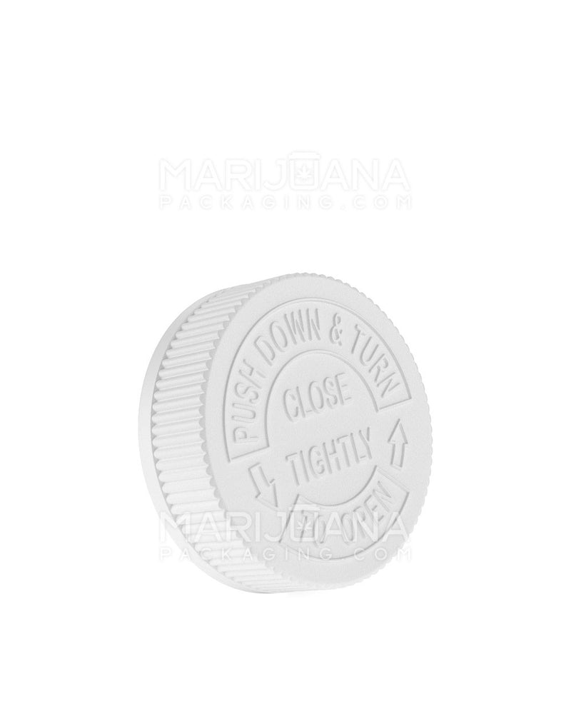 Child Resistant | Ribbed Push Down & Turn Caps | 53mm - White Plastic - 120 Count | Dispensary Supply | Marijuana Packaging
