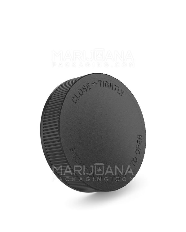 Child Resistant | Ribbed Push Down & Turn Caps | 63mm - Black Plastic - 12 Count | Dispensary Supply | Marijuana Packaging