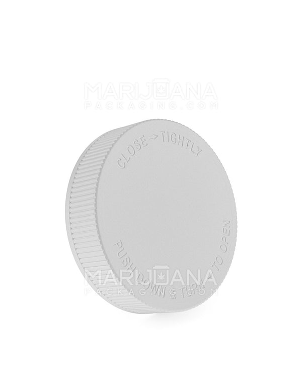 Child Resistant | Ribbed Push Down & Turn Caps | 63mm - White Plastic - 12 Count | Dispensary Supply | Marijuana Packaging