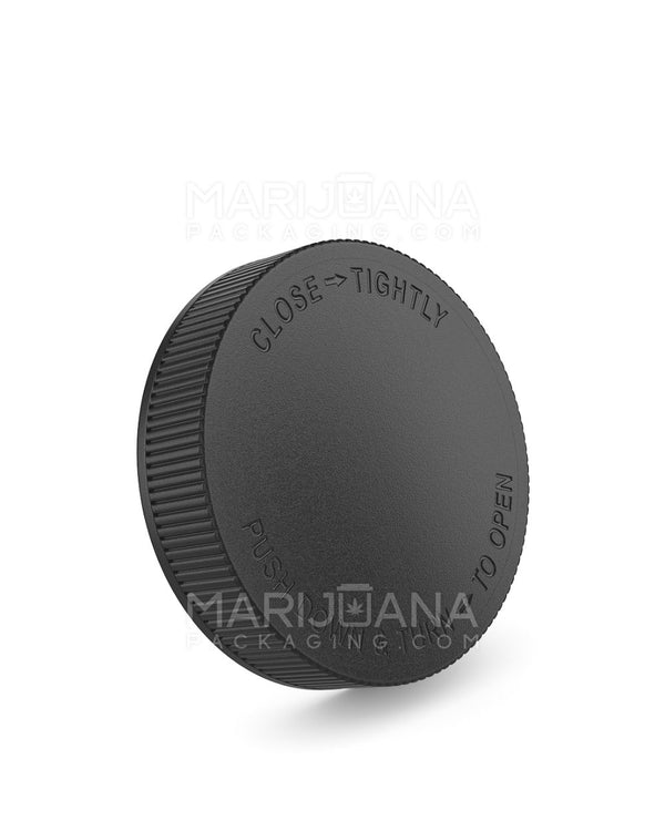 Child Resistant | Ribbed Push Down & Turn Caps | 70mm - Black Plastic - 36 Count | Dispensary Supply | Marijuana Packaging