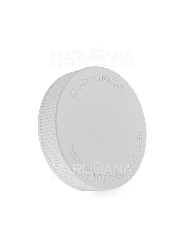 Child Resistant | Ribbed Push Down & Turn Caps | 70mm - White Plastic - 36 Count | Dispensary Supply | Marijuana Packaging