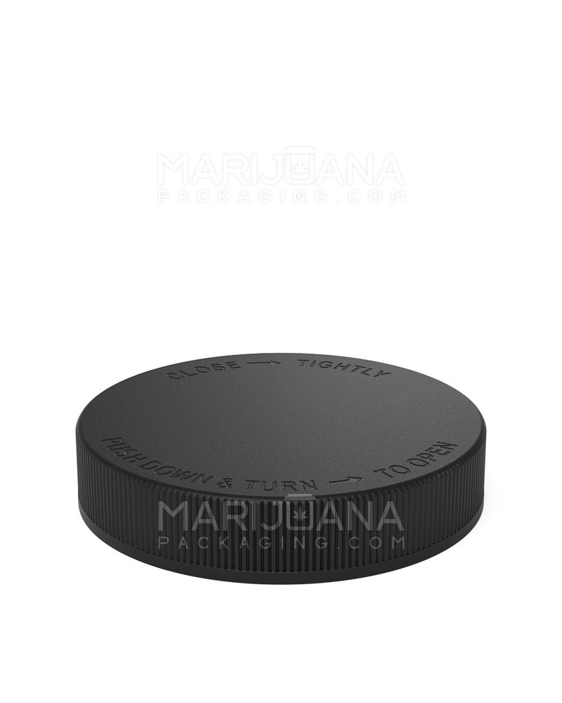 Child Resistant | Ribbed Push Down & Turn Caps | 89mm - Black Plastic - 205 Count | Dispensary Supply | Marijuana Packaging