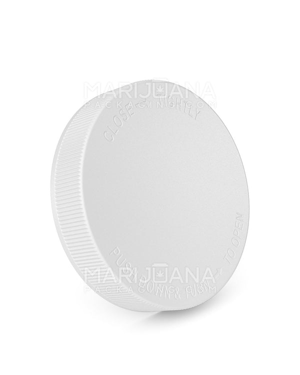 Child Resistant | Ribbed Push Down & Turn Caps | 89mm - White Plastic - 205 Count | Dispensary Supply | Marijuana Packaging
