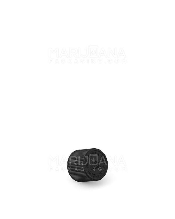 Child Resistant | Ribbed Push Down & Turn Caps for Glass Tube | 22mm - Black Plastic - 400 Count | Dispensary Supply | Marijuana Packaging
