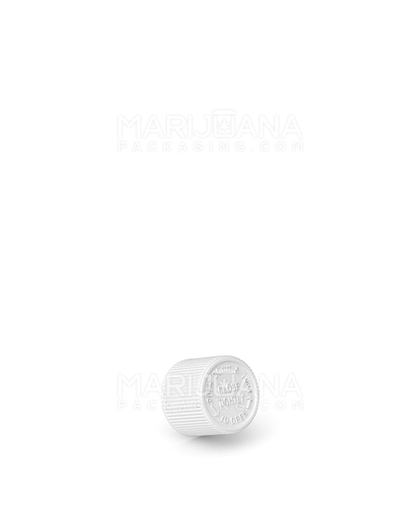Child Resistant | Ribbed Push Down & Turn Caps for Glass Tube | 22mm - White Plastic - 400 Count | Dispensary Supply | Marijuana Packaging